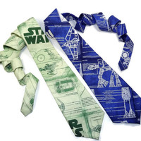 Star Wars tie, Blueprint tie, Death Star Schematics tie, The Empire necktie, Mens Necktie, Greenprint tie, star wars necktie