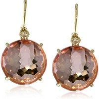 Kalan by Suzanne Kalan Round Salmon Topaz Wire Drop Earrings