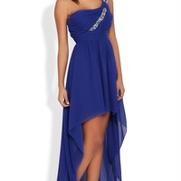 High Low Prom Dress with One Shoulder Stone Strap and Ruched Bodice