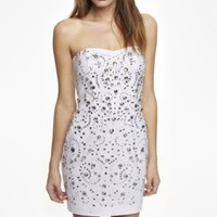 STRAPLESS RHINESTONE EMBELLISHED DRESS