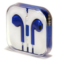 Mikeswireless headset Earbuds Earpods with Mic and Remote Earphone Headphone Compatible with Apple Iphone 3 4 5 5s 5c, Ipad, Ipod (Blue)