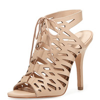 Pour la Victoire Yermak Laser-cut Lace-Up Cage Sandal, Neutral