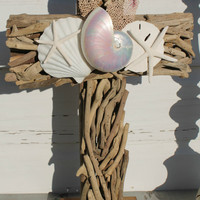 Driftwood Altar Cross/Beach Wedding Seashell Cross