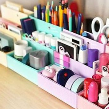 niceeshop(TM) DIY Stationery Makeup Organizer Paper Board Storage Box-Sky Blue