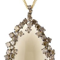 "Suzanne Kalan ""Antique Starburst"" Smokey Quartz Triple Chain Necklace"