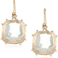 Kalan by Suzanne Kalan White Quartz Cushion Cut Wire Drop Earrings