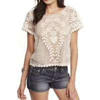 SHORT SLEEVE BAROQUE LACE TEE