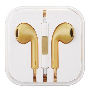 3.5mm Plug In-ear Earphone with Volume Control Compatible for Iphone 5/5s/5c, Ipod, Ipad (Gold)