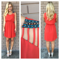 Rust Embroidered Strap Dress