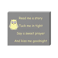 Bedtime nursery canvas- nursery canvas, yellow gray nursery, read me a story, kiss me goodnight, christian wall art, sweet dreams canvas