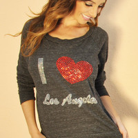 Womens Pullover. I Love LA Sweatshirt. Los Angeles Raglan. LA Rhinestone Top. Rhinestone Heart Sweatshirt. LA Sweatshirt. Alternative.