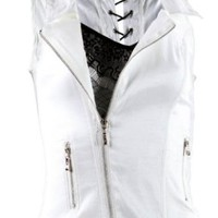 Afterpink Sleeveless Front Zip V-neck Lace Vest Clubwear Women Top