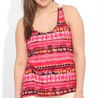 Plus Size High Low Tank with Tribal Print and Crochet Back
