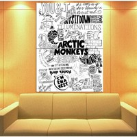 XV1819 Arctic Monkeys Painting Indie Rock Band Music BW Art HUGE GIANT Wall Print POSTER
