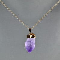 Natural Amethyst Point Necklace Gold Cap  by WonderfulJewelry