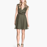 H&M - Crinkled Dress - Khaki green - Ladies