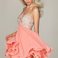 Coral Short Junior Prom Dress, Night Moves Short Dress- PromGirl