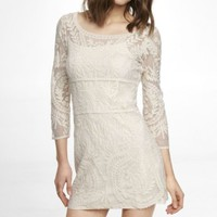 EMBROIDERED LACE SHIFT DRESS