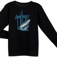 Guy Harvey GH Blue Long Sleeve Ladies Back-Print T-Shirt