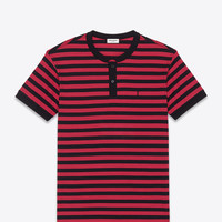 Saint Laurent CLASSIC SHORT SLEEVE BAND COLLAR POLO IN BLACK And Red Wide Striped Piqué Cotton | ysl.com