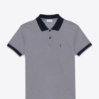 Saint Laurent CLASSIC POLO SHIRT IN Navy Blue AND WHITE Micro Striped PIQUÉ COTTON | ysl.com