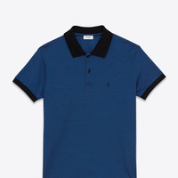 Saint Laurent CLASSIC POLO SHIRT IN Blue AND Black Micro Striped PIQUÉ COTTON | ysl.com