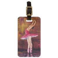 Pink Ballerina on Pink Glitter Luggage Tag