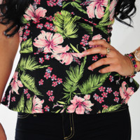 Hawaiian Island Peplum Top: Black | Hope's