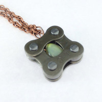 Labradorite bicycle chain cycling pendant bike jewelry
