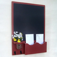 Chalkboard Mail Organizer with Jar Vase - Wood - Letter Holder - Mail Holder - Key Hooks
