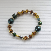 blue green and brown beaded bracelet fashion bracelet beaded jewellery handmade bracelet gift for women beads bracelet stretchy bracelet