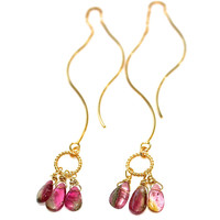 Watermelon Tourmaline Earrings Wavy Ear Thread Earrings Watermelon Tourmaline Jewelry Long Earrings Delicate Jewelry Gold Vermeil Earrings