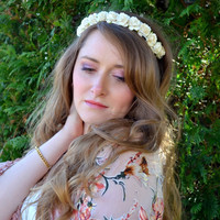 Floral crown flower crown rose crown headband wreath with roses festival - 'Artemis'