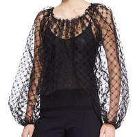 Long-Sleeve Lace Blouse, Black