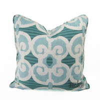 AQUA WHITE PILLOW Cover -Reversible -Self Welt