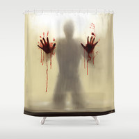 Beware to the shower....you are not alone! Shower Curtain by Emiliano Morciano (Ateyo)