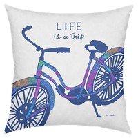 Trip 18x18 Pillow, Blue
