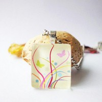 Spring Butterfly Yellow Square Glass Tile Pendant Necklace 20mm | LittleApples - Jewelry on ArtFire
