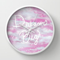 Dream Big in Pink Wall Clock by Lisa Argyropoulos
