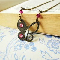 Butterfly Necklace Pink Fusia Crystals Antique Brass Hollow  Charm | LittleApples - Jewelry on ArtFire