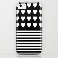 Heart Stripes White on Black iPhone & iPod Case by Project M