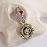 Charm Belly Button Ring - Body Jewelry - Navel Piercing - Silver Rose on Captive Bead Ring - Choose Your Color