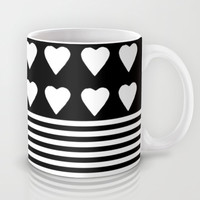 Heart Stripes White on Black Mug by Project M