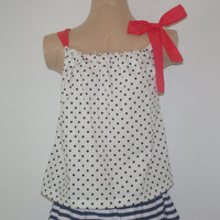 White with Navy Polka Dot Multi Way Top