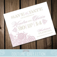 VINTAGE LACE - Save the Date card - Vintage Romantic Lovely Customizable Color Printable DIY Wedding Invitation Digital File
