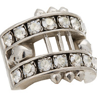 Alexander McQueen Crystal Bar Skull Ring