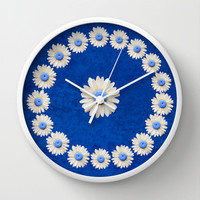 DAISY TIME BLUE Wall Clock by Catspaws
