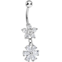 Crystalline Gem Twice as Nice Flower Dangle Belly Ring | Body Candy Body Jewelry