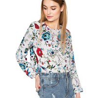 Botanical bird print top