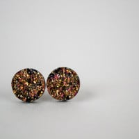 Gold and Pnk round Druzy Earrings